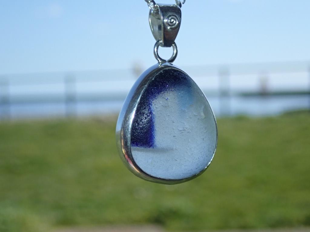 PE123 Seaham Multi Blue/ White Eco-Silver Sea Glass Pendant