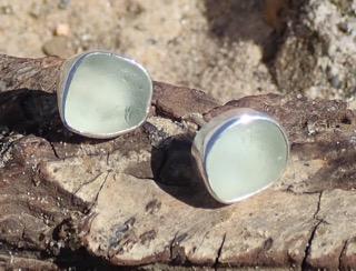 EST15 Eco-silver Sea Glass Earrings Seaham White