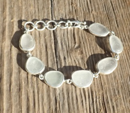 Eco-silver Seaham White Sea Glass Open Bezel Bracelet
