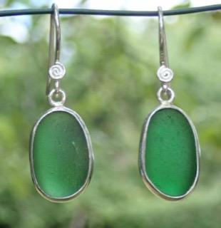 ES25 Sea Glass Earrings from Seaham in Forest Green Sea Glass