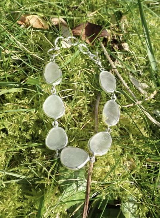 Eco-silver Seaham White Sea Glass Open Bezel Bracelet