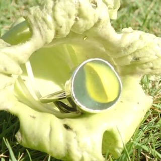 RE215 Eco-silver Sea Glass Ring Seaham Yellow Marble UK L