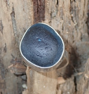RE181 Eco-silver Sea Glass Ring Seaham Multi Cobalt Blues