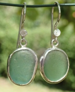 ES27  Eco-silver Sea Glass Earrings from Seaham in Sage Green Sea Glass