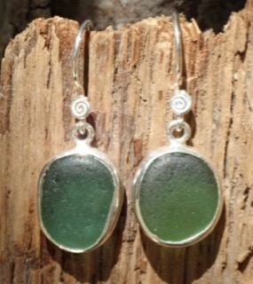 ES27  Sea Glass Earrings from Seaham in Sage Green Sea Glass