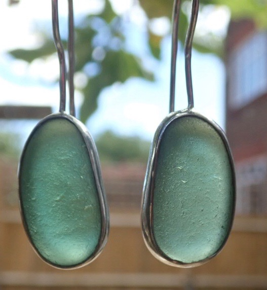 ED28 Sea Glass Earrings Durhams Heritage Coastline Forest Green Sea Glass