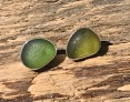 EST29 Sea Glass Earrings Seaham with Forest Green and Olive YellowSea Glass