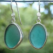 ES21 Sea Glass Earrings Seaham Light Teal Blue and Light Teal Grey Sea Glass set in Eco-silver
