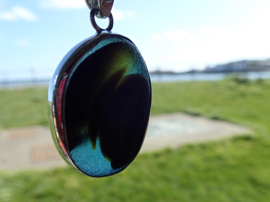 PE119 Eco-Silver Seaham Multi Sea Glass Pendant