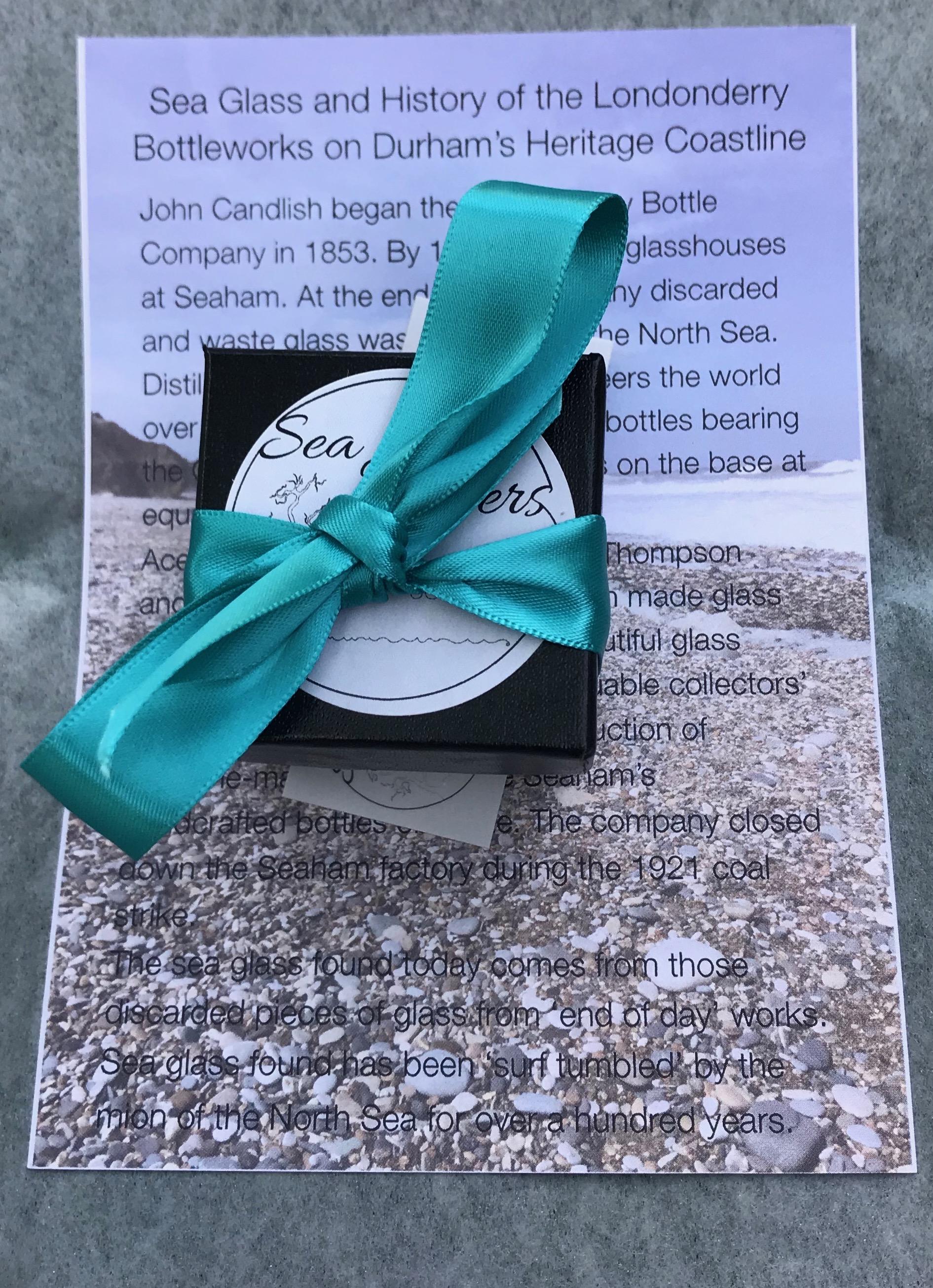 ED28 Eco-silver Sea Glass Earrings Durhams Heritage Coastline Forest Green Sea Glass
