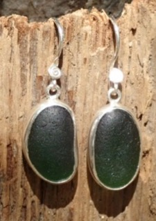 ES26 Eco-silver Sea Glass Earrings from Seaham in Forest Green Sea Glass