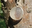 PE5 Eco-Silver Sea Glass Pendant Brown/White Open Bezel