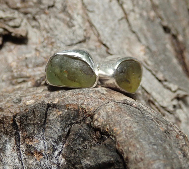 EST34 Eco-silver Sea Glass Earrings Seaham with Olive and White Sea Glass