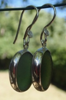 ES39 Sea Glass Earrings from Seaham in Forest Green Sea Glass