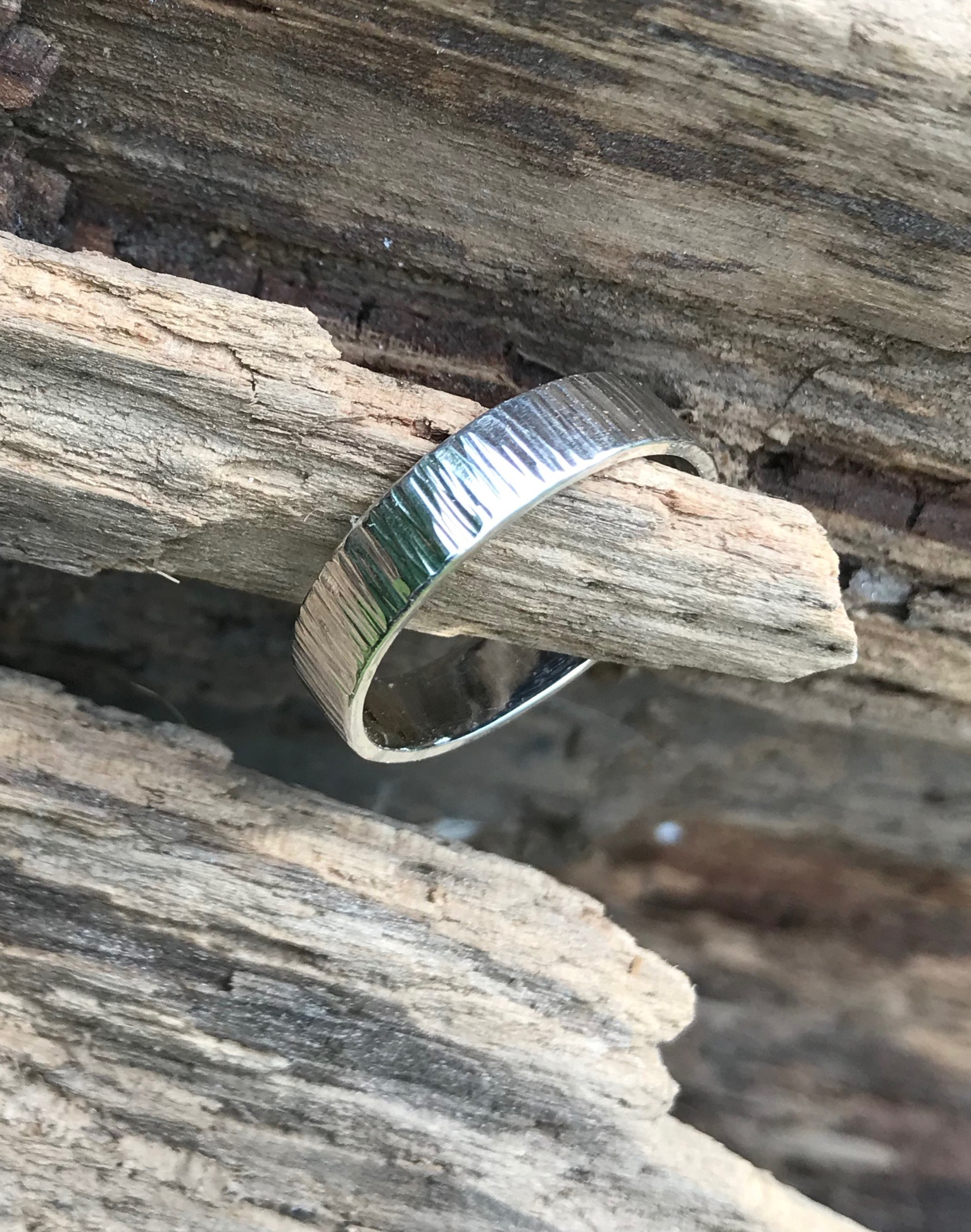 Driftwood Eco-silver Rings 5 x 1. 2mm