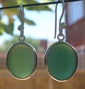ES39 Eco-silver Sea Glass Earrings from Seaham in Forest Green Sea Glass
