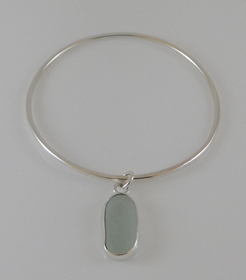 Eco-silver Seaham White Sea Glass Bangle