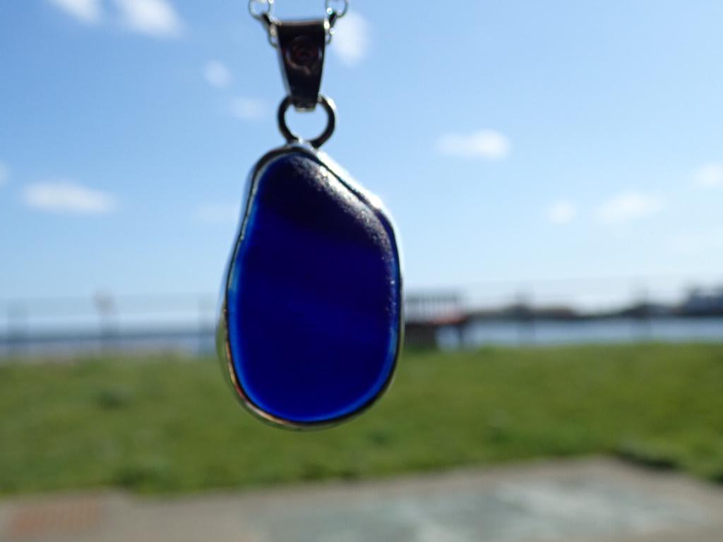 PE120 Seaham Multi Blues Eco-Silver Sea Glass Pendant