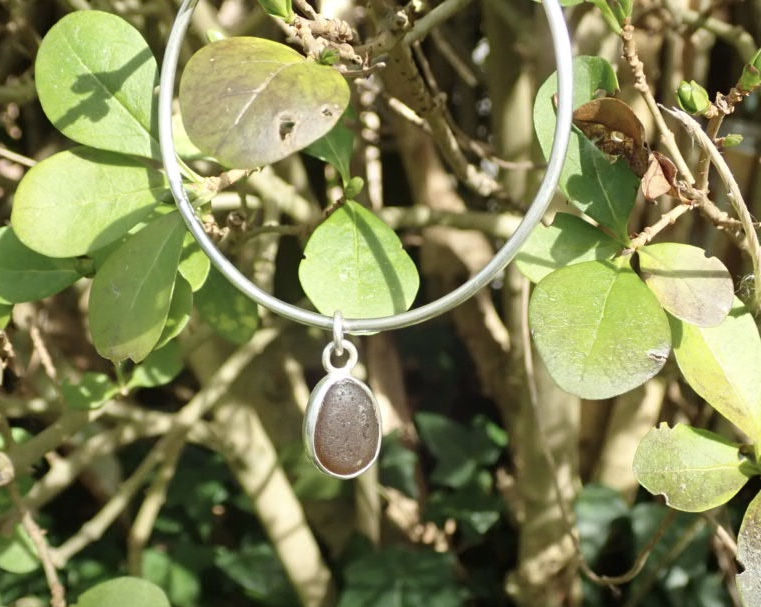 Eco-silver Brown Seaham Sea Glass Bangle