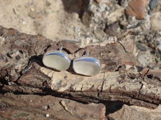 EST13 Eco-silver Sea Glass Earrings Seaham White