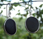 ES31 Eco-silver Sea Glass Earrings from Seaham in Dark Olive Green and Dark Olive Yellow Sea Glass