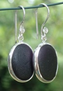 ES31 Sea Glass Earrings from Seaham in Dark Olive Green and Dark Olive Yellow Sea Glass