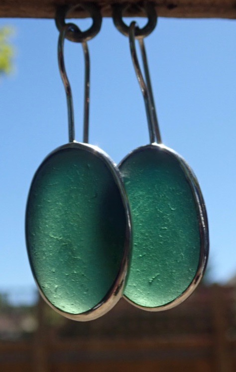 ED22 Sea Glass Earrings From Durhams Heritage Coastline Forest Green Sea Glass
