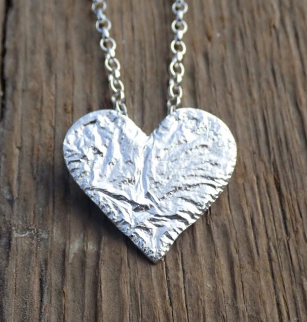 Sea Ripple Eco-silver Heart Pendant