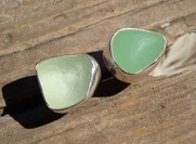 EST22 Eco-silver Sea Glass Earrings Seaham with Rare Ultra violet sea glass