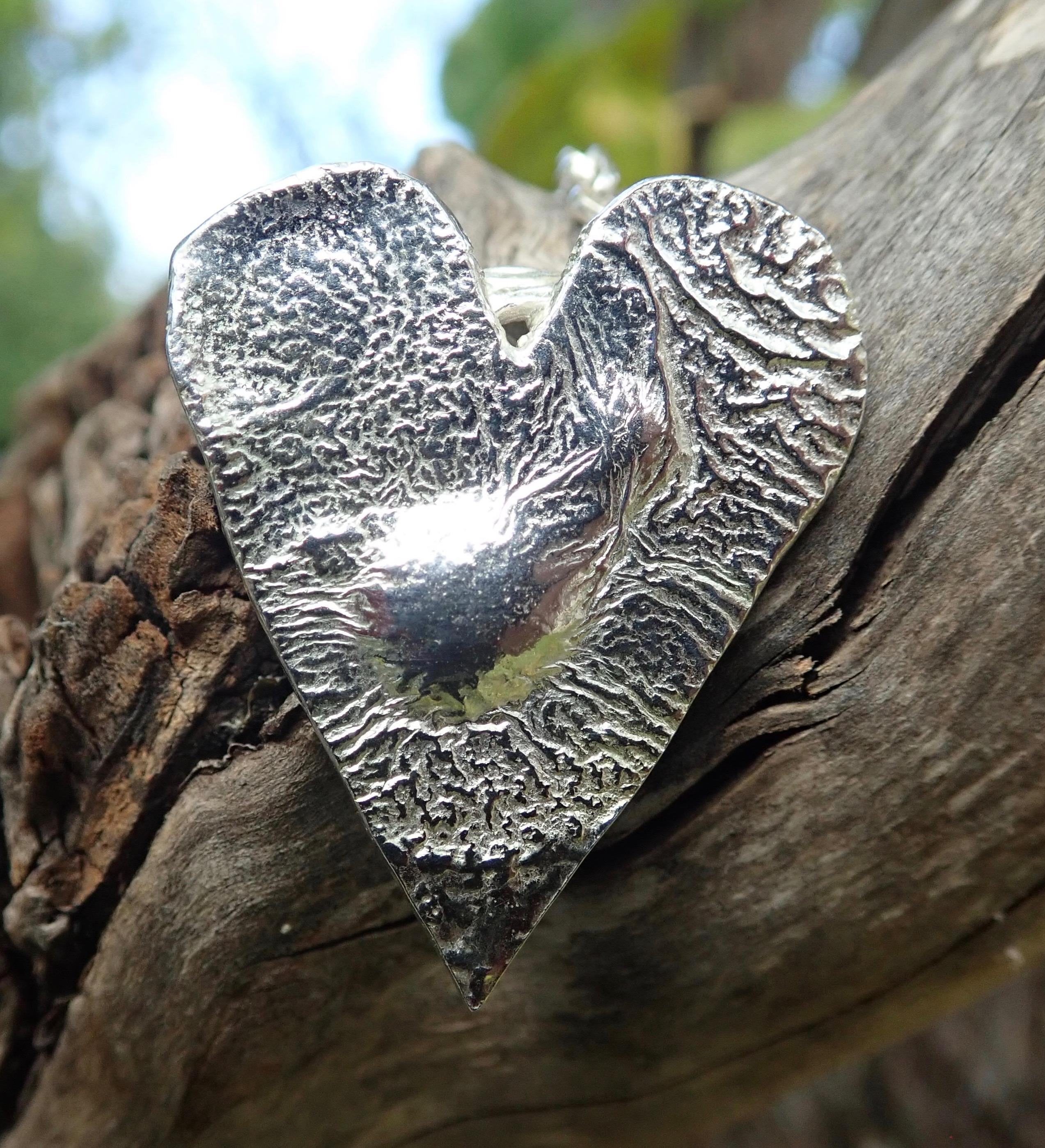 Sea Ripple Eco-silver Heart Pendant