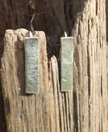 Sea Ripple Elongated Earrings in Eco-silver