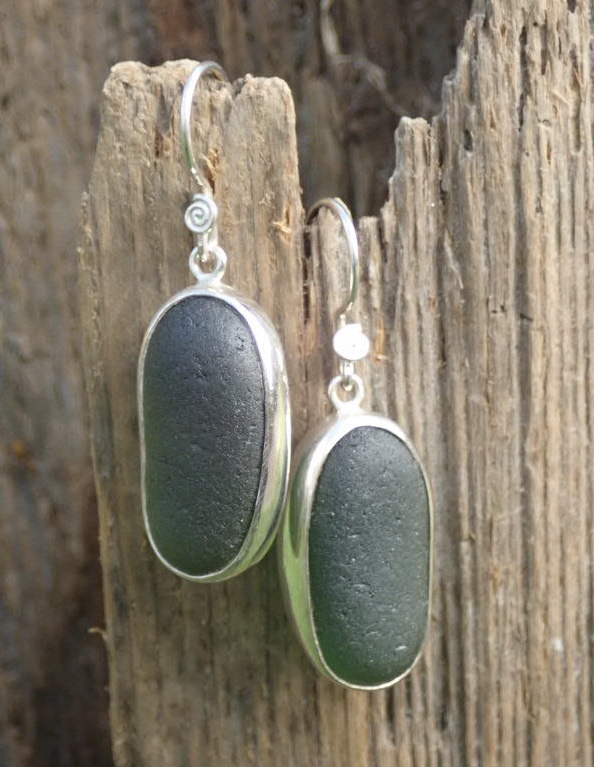 ES45 Eco-silver Sea Glass Earrings from Seaham in Forest Green Sea Glass