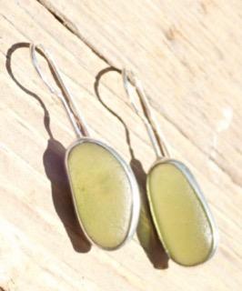 ED13 Sea Glass Earrings Seaham Olive Yellow Sea Glass