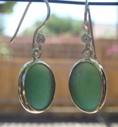 ES40 Sea Glass Earrings from Seaham in Forest Green Sea Glass