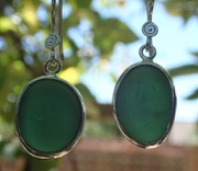 ES40 Eco-silver Sea Glass Earrings from Seaham in Forest Green Sea Glass