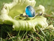 RE207 Eco-silver Sea Glass Ring Seaham Blue Multi UK K