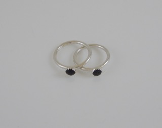 Nurdle Eco Silver Rings (White, Black or Cream  Nurdle)
