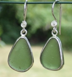 ES23 Eco-silver Sea Glass Earrings from Seaham Forest Green Sea Glass