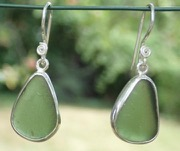 ES23 Sea Glass Earrings from Seaham Forest Green Sea Glass