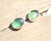 EST20 Sea Glass Earrings Seaham with Green sea glass