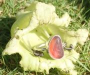 RE211 Eco-silver Sea Glass Ring Seaham Multi Red/Orange/Pink UK K ½