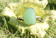 RE210 Sea Glass Ring Seaham UV Glass UK R ½
