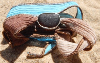 Boho Eco Silver Open Bezel Brown Sea Glass on Earth and Sky Silk Wrist Wrap