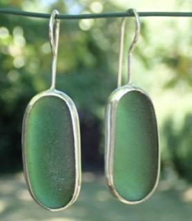 ED20 Sea Glass Earrings Jurasic Coastline Forest Green Sea Glass