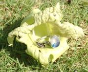 RE216 Eco-silver Sea Glass Ring Seaham Multi Blues/White UK N ½