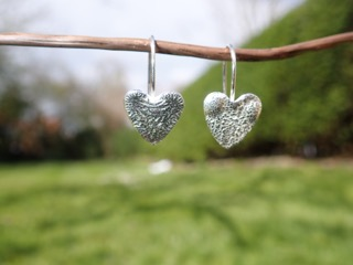 Sea Ripple Heart Earrings in Eco-silver