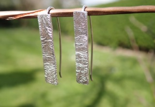 Sea Ripple Earrings in Eco-silver (hearts and elongated)
