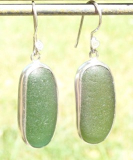 ES17 Sea Glass Earrings Jurassic Coastline Forest Green and Olive Yellow Sea Glass