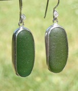 ES17 Eco-silver Sea Glass Earrings Jurassic Coastline Forest Green and Olive Yellow Sea Glass