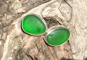 EST28 Eco-silver Sea Glass Earrings Seaham with Emerald Green Sea Glass